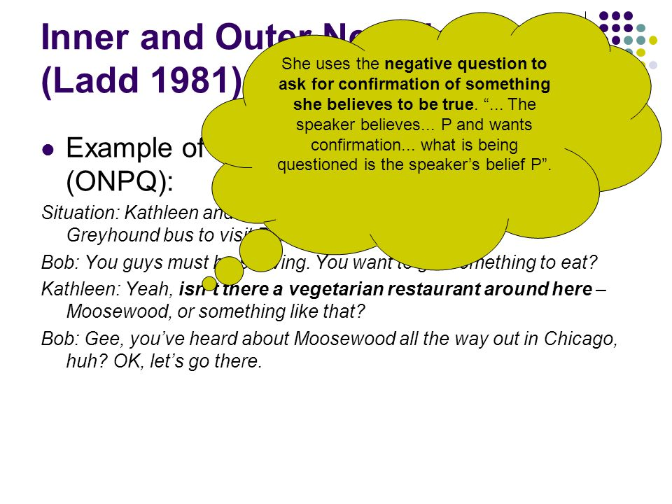 Inner and Outer Negation (Ladd 1981) Example of outer negation polar question (ONPQ): Situation: Kathleen and Jeff have just come from Chicago on the Greyhound bus to visit Bob in Ithaca).
