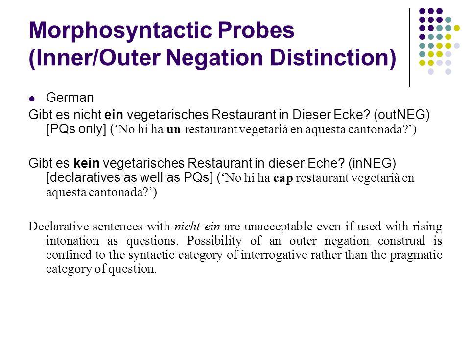 Morphosyntactic Probes (Inner/Outer Negation Distinction) German Gibt es nicht ein vegetarisches Restaurant in Dieser Ecke.