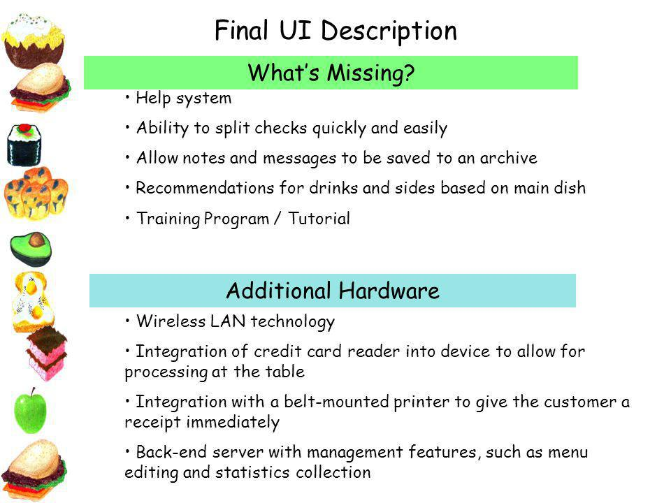 Final UI Description Additional Hardware Whats Missing.