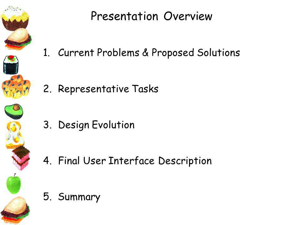 Presentation Overview 1.Current Problems & Proposed Solutions 2.Representative Tasks 3.Design Evolution 4.Final User Interface Description 5.