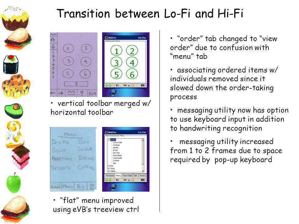 Transition between Lo-Fi and Hi-Fi vertical toolbar merged w/ horizontal toolbar flat menu improved using eVBs treeview ctrl order tab changed to view order due to confusion with menu tab associating ordered items w/ individuals removed since it slowed down the order-taking process messaging utility now has option to use keyboard input in addition to handwriting recognition messaging utility increased from 1 to 2 frames due to space required by pop-up keyboard