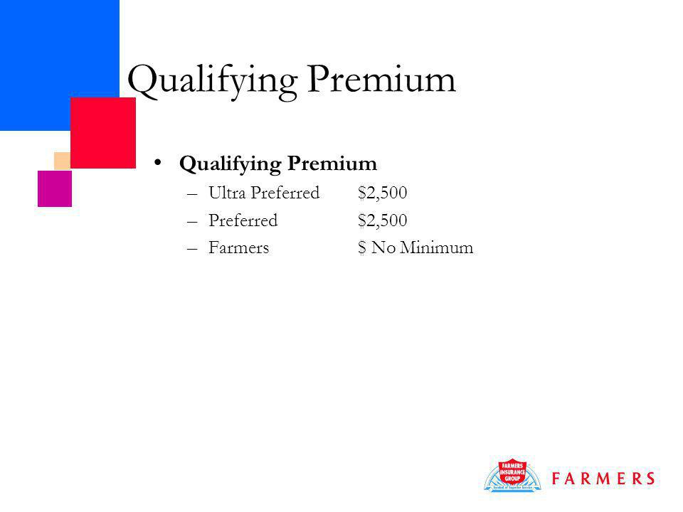 Qualifying Premium – Ultra Preferred$2,500 – Preferred$2,500 – Farmers$ No Minimum