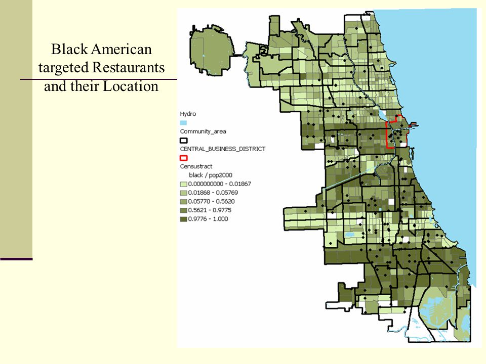 Black American targeted Restaurants and their Location