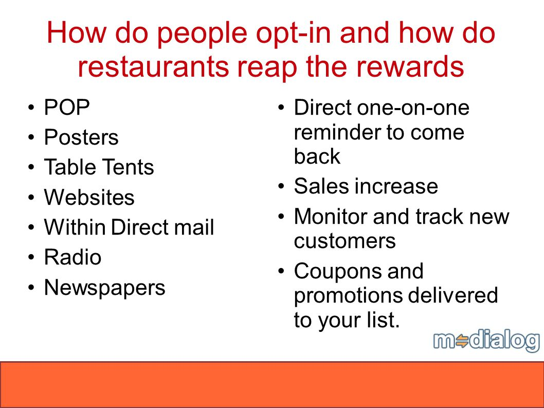 How do people opt-in and how do restaurants reap the rewards 06/24/08Confidential POP Posters Table Tents Websites Within Direct mail Radio Newspapers
