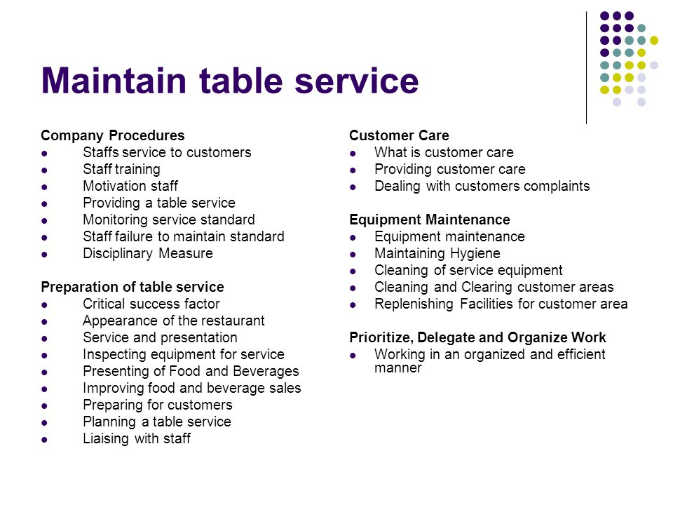 Maintain table service Company Procedures Staffs service to customers Staff training Motivation staff Providing a table service Monitoring service sta