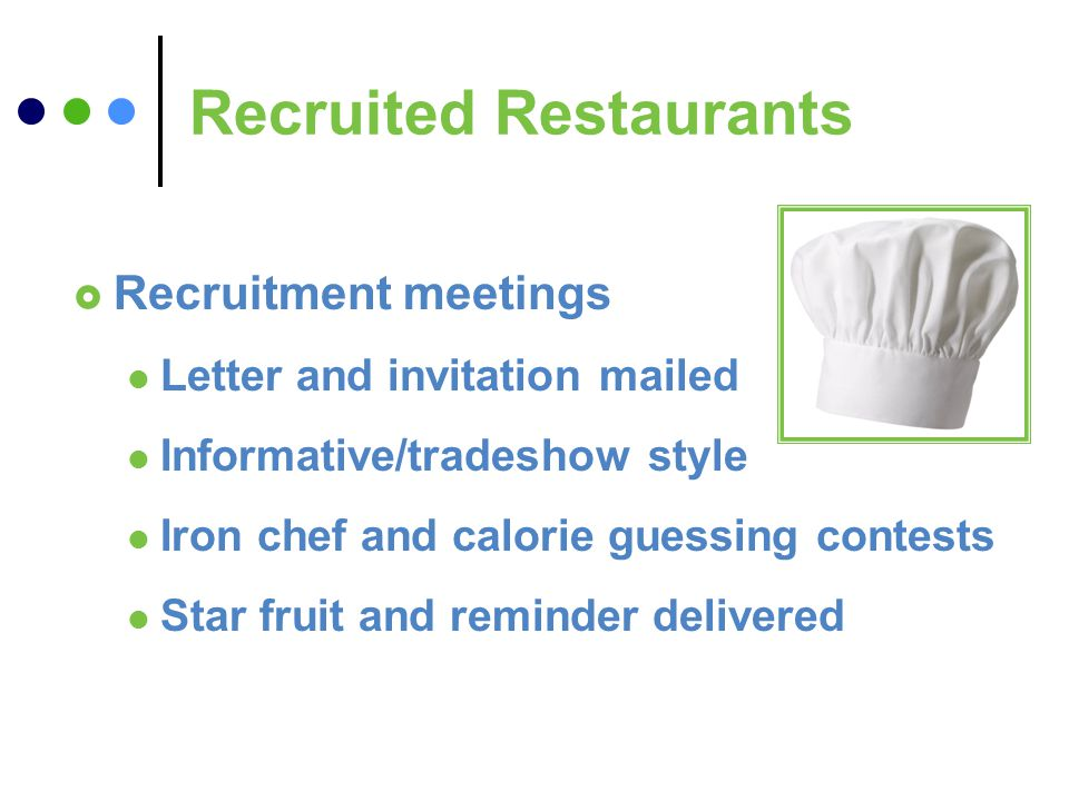 Recruited Restaurants Recruitment meetings Letter and invitation mailed Informative/tradeshow style Iron chef and calorie guessing contests Star fruit and reminder delivered