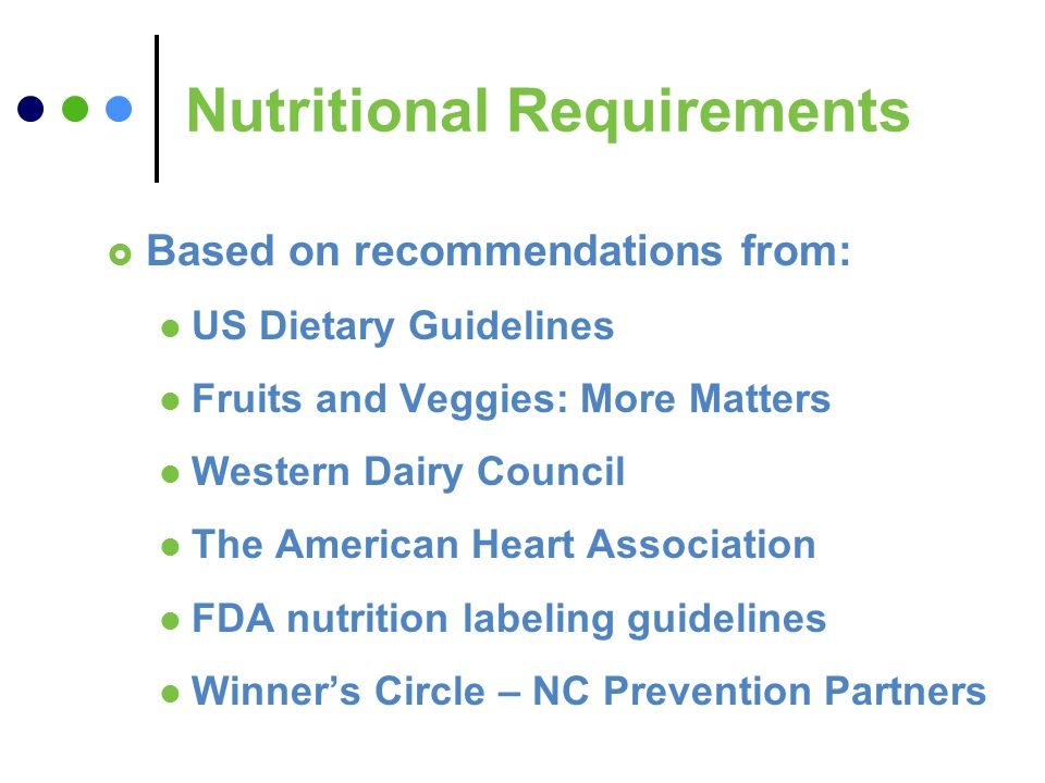 Nutritional Requirements Based on recommendations from: US Dietary Guidelines Fruits and Veggies: More Matters Western Dairy Council The American Heart Association FDA nutrition labeling guidelines Winners Circle – NC Prevention Partners