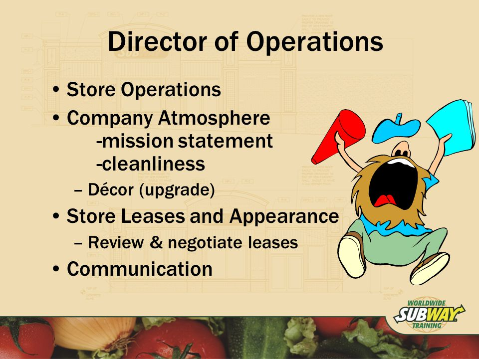Director of Operations Store Operations Company Atmosphere -mission statement -cleanliness –Décor (upgrade) Store Leases and Appearance –Review & negotiate leases Communication