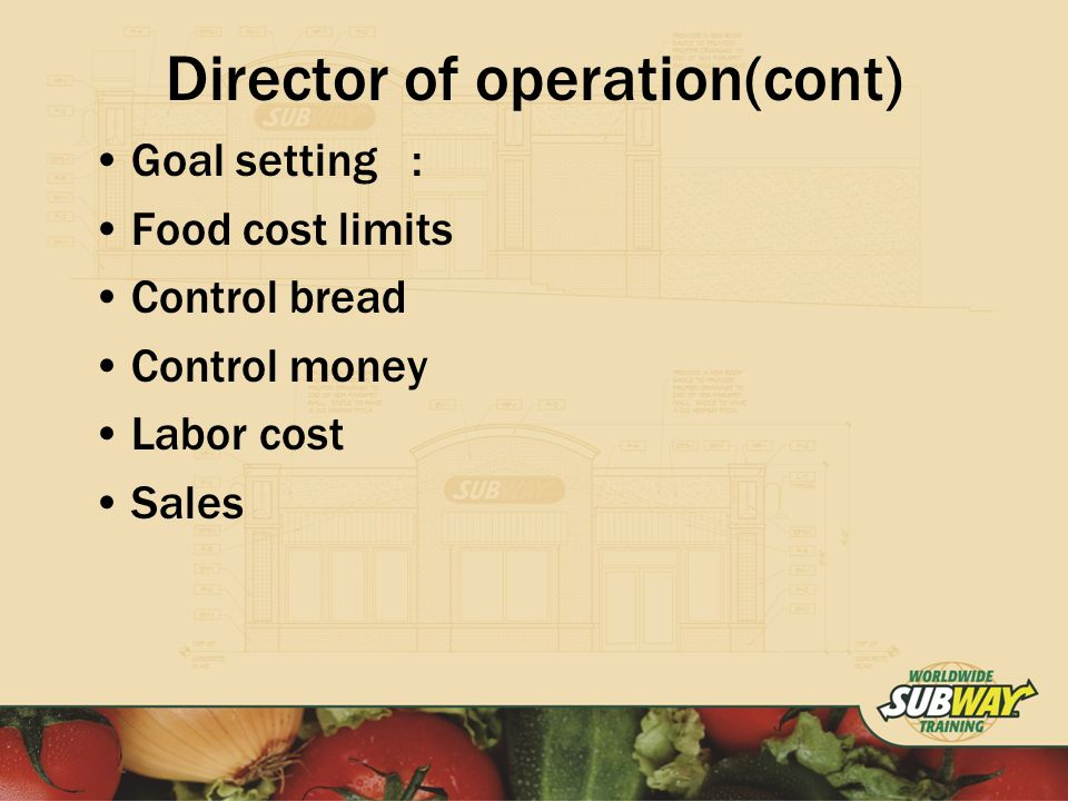 Director of operation(cont) Goal setting: Food cost limits Control bread Control money Labor cost Sales