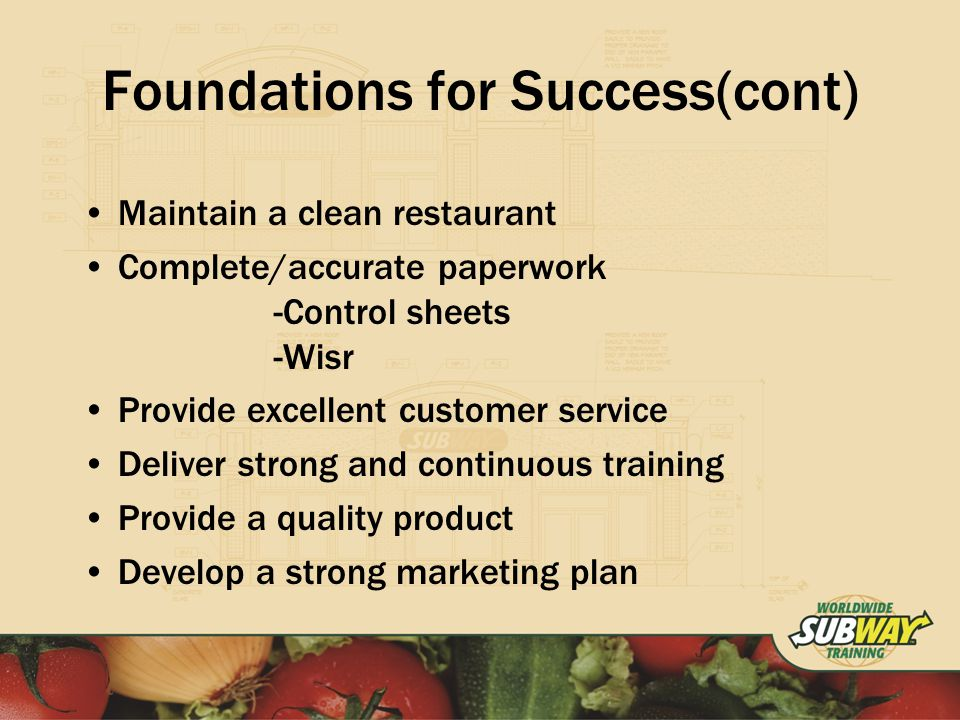 Foundations for Success(cont) Maintain a clean restaurant Complete/accurate paperwork -Control sheets -Wisr Provide excellent customer service Deliver strong and continuous training Provide a quality product Develop a strong marketing plan
