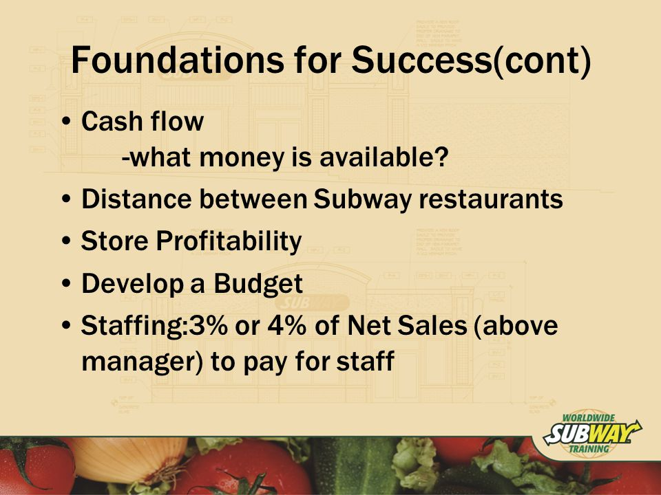 Foundations for Success(cont) Cash flow -what money is available.