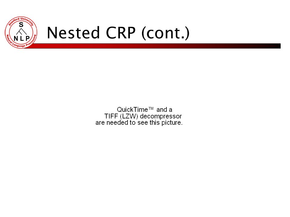 Nested CRP (cont.) To generate a document given a tree with L levels Choose a path from the root of the tree to a leaf Draw a vector of topic mixing p