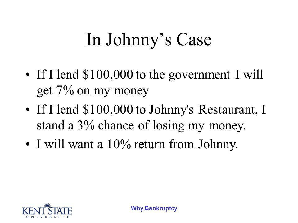 Why Bankruptcy In Johnnys Case If I lend $100,000 to the government I will get 7% on my money If I lend $100,000 to Johnny s Restaurant, I stand a 3% chance of losing my money.