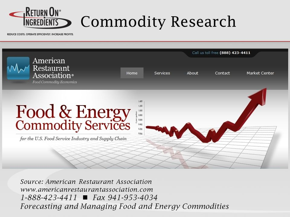 Commodity Research Source: American Restaurant Association www.americanrestaurantassociation.com 1-888-423-4411 Fax 941-953-4034 Forecasting and Managing Food and Energy Commodities