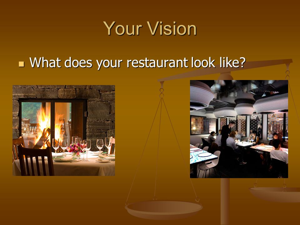 Your Vision What does your restaurant look like What does your restaurant look like