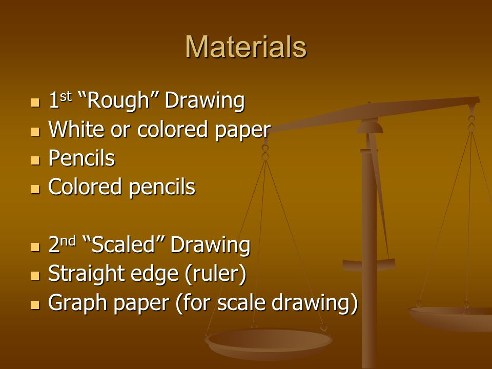 Materials 1 st Rough Drawing 1 st Rough Drawing White or colored paper White or colored paper Pencils Pencils Colored pencils Colored pencils 2 nd Scaled Drawing 2 nd Scaled Drawing Straight edge (ruler) Straight edge (ruler) Graph paper (for scale drawing) Graph paper (for scale drawing)