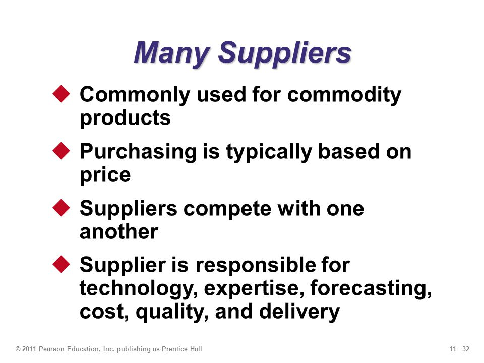 11 - 32© 2011 Pearson Education, Inc. publishing as Prentice Hall Many Suppliers Commonly used for commodity products Purchasing is typically based on