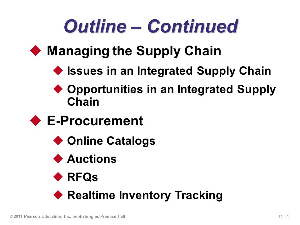 11 - 4© 2011 Pearson Education, Inc. publishing as Prentice Hall Outline – Continued Managing the Supply Chain Issues in an Integrated Supply Chain Op