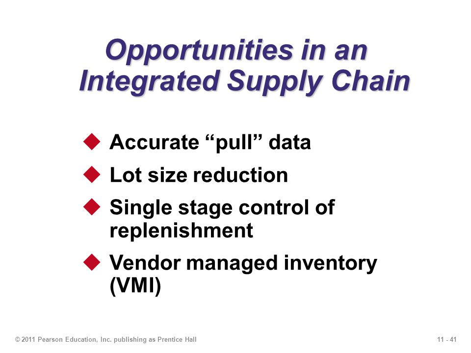 11 - 41© 2011 Pearson Education, Inc. publishing as Prentice Hall Opportunities in an Integrated Supply Chain Accurate pull data Lot size reduction Si