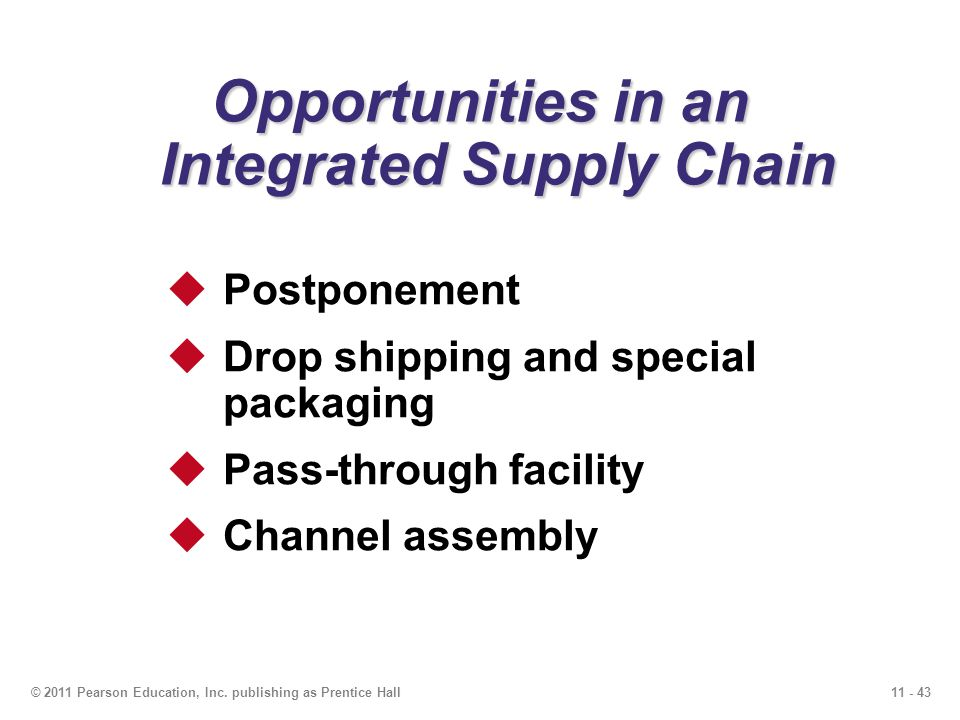 11 - 43© 2011 Pearson Education, Inc. publishing as Prentice Hall Opportunities in an Integrated Supply Chain Postponement Drop shipping and special p