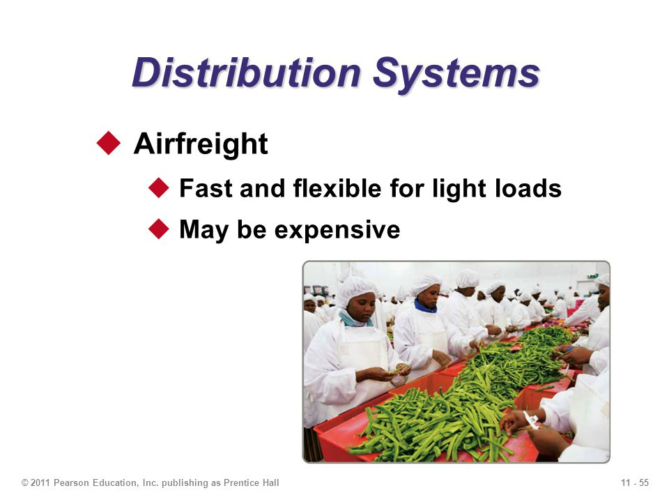 11 - 55© 2011 Pearson Education, Inc. publishing as Prentice Hall Distribution Systems Airfreight Fast and flexible for light loads May be expensive