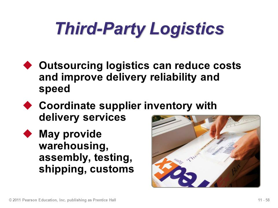 11 - 58© 2011 Pearson Education, Inc. publishing as Prentice Hall Third-Party Logistics Outsourcing logistics can reduce costs and improve delivery re