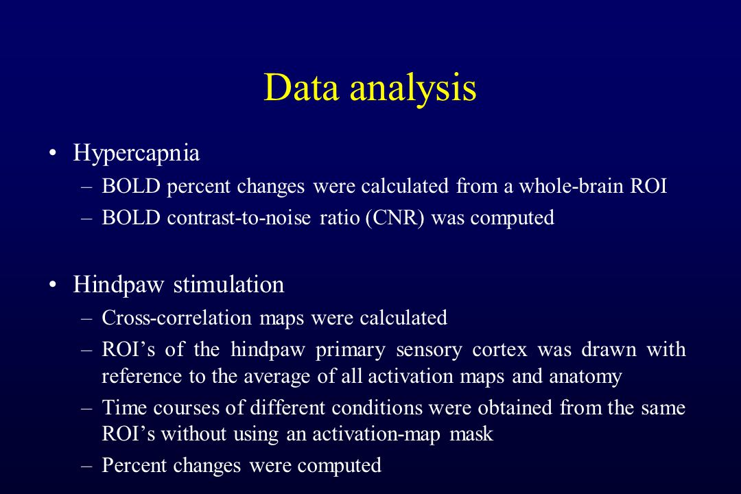 Data analysis Hypercapnia –BOLD percent changes were calculated from a whole-brain ROI –BOLD contrast-to-noise ratio (CNR) was computed Hindpaw stimulation –Cross-correlation maps were calculated –ROIs of the hindpaw primary sensory cortex was drawn with reference to the average of all activation maps and anatomy –Time courses of different conditions were obtained from the same ROIs without using an activation-map mask –Percent changes were computed