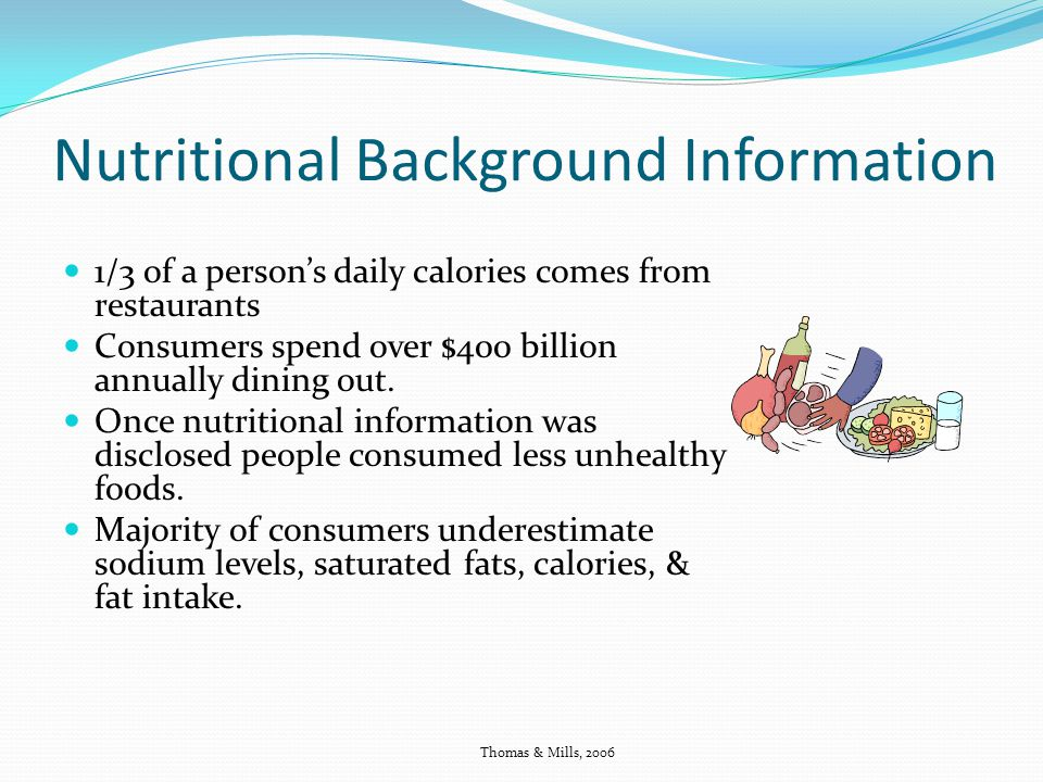 Nutritional Background Information 1/3 of a persons daily calories comes from restaurants Consumers spend over $400 billion annually dining out. Once