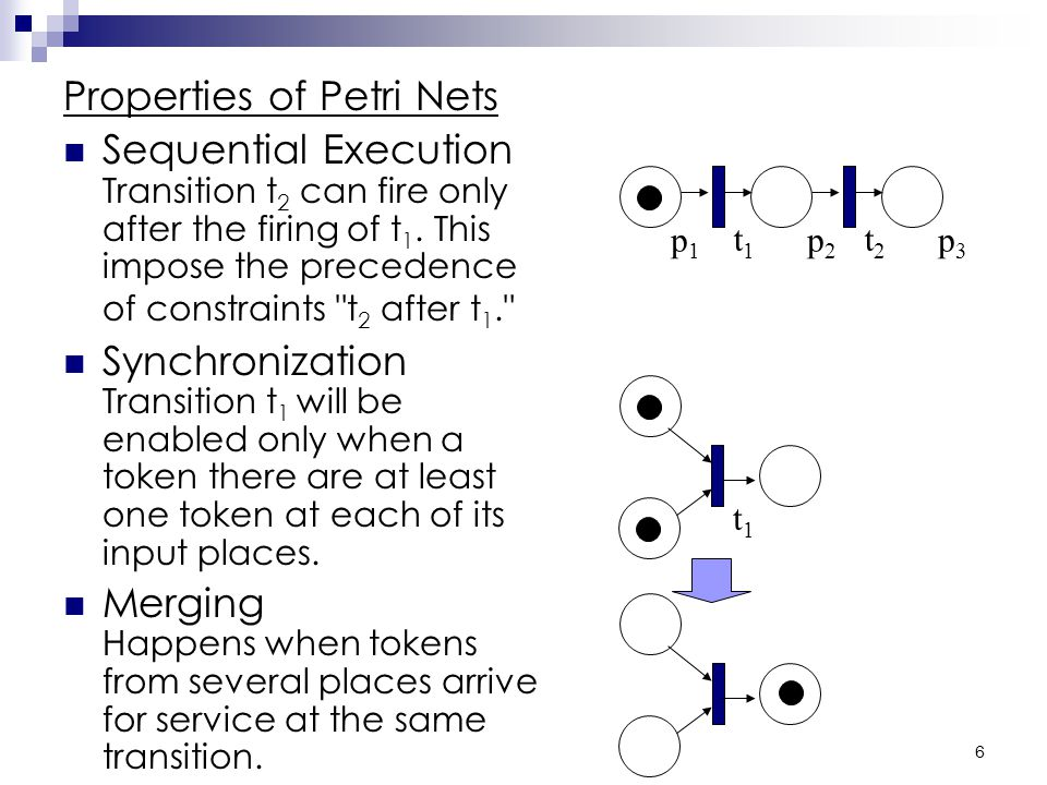 5 Basics of Petri Nets -continued Below is an example Petri net with two places and one transaction.