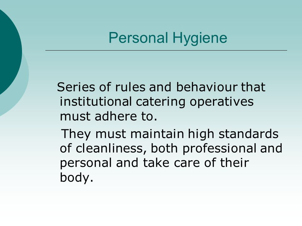 Good Manufacturing Practice Essential hygiene regulations.