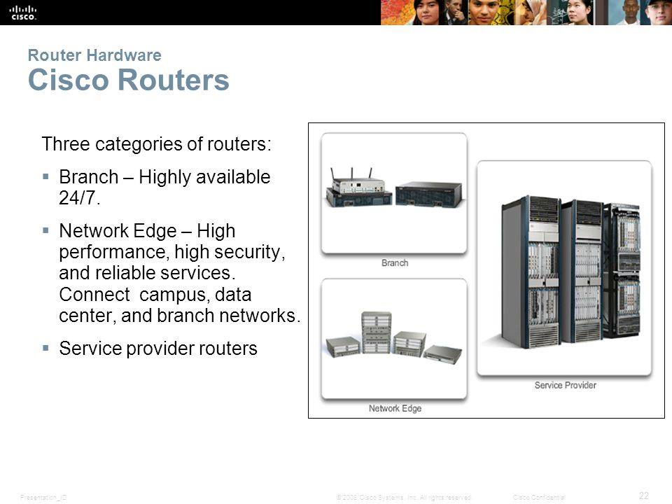 Presentation_ID 22 © 2008 Cisco Systems, Inc. All rights reserved.Cisco Confidential Router Hardware Cisco Routers Three categories of routers: Branch
