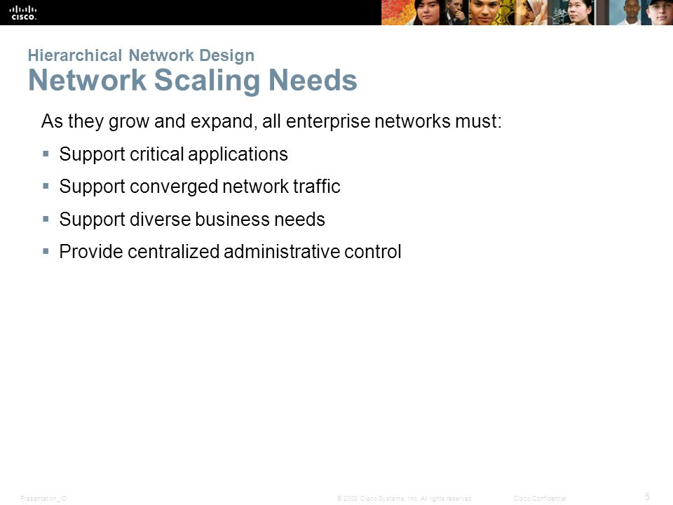 Presentation_ID 5 © 2008 Cisco Systems, Inc. All rights reserved.Cisco Confidential Hierarchical Network Design Network Scaling Needs As they grow and