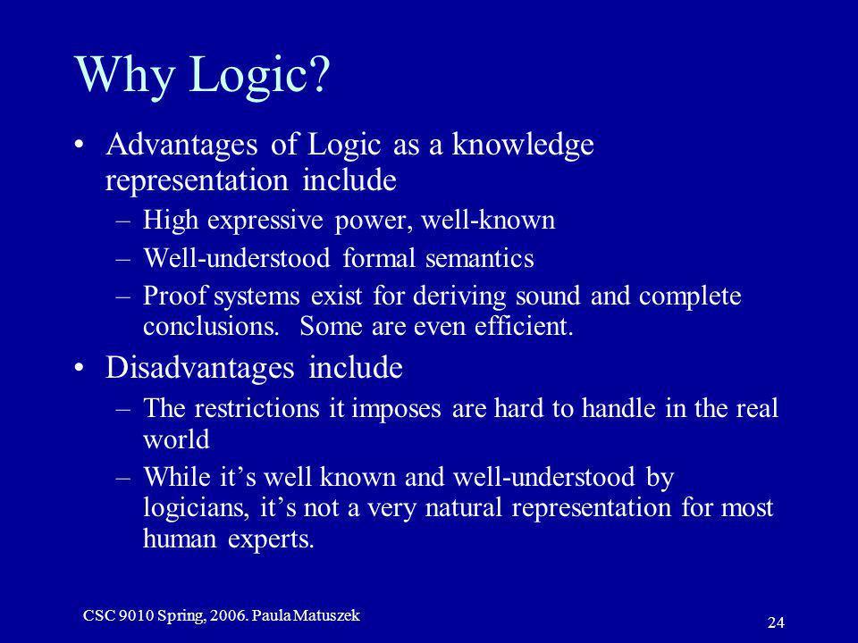CSC 9010 Spring, 2006. Paula Matuszek 24 Why Logic.