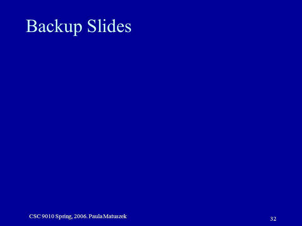CSC 9010 Spring, 2006. Paula Matuszek 32 Backup Slides