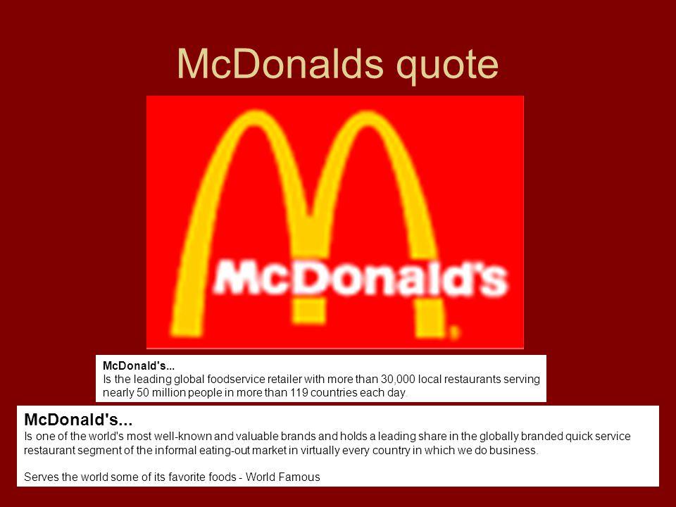 McDonalds quote McDonald s...