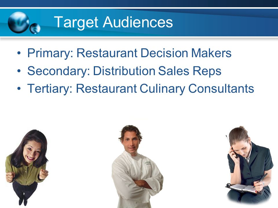 Objectives Increase sales to $5M by 2010 1.Increase overall awareness of restaurant outsourcing solutions 2.Create and increase recall awareness of VGF 3.Generate 5-10 new sales leads by referrals Additional target audience objectives –To develop brand associations between VGF and innovative culinary solutions –To evoke favorable attitudes towards VGF