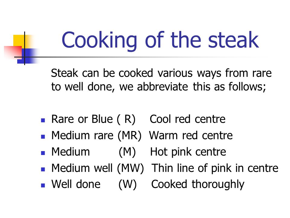 Cooking of the steak Steak can be cooked various ways from rare to well done, we abbreviate this as follows; Rare or Blue ( R) Cool red centre Medium rare (MR) Warm red centre Medium (M) Hot pink centre Medium well (MW) Thin line of pink in centre Well done (W) Cooked thoroughly