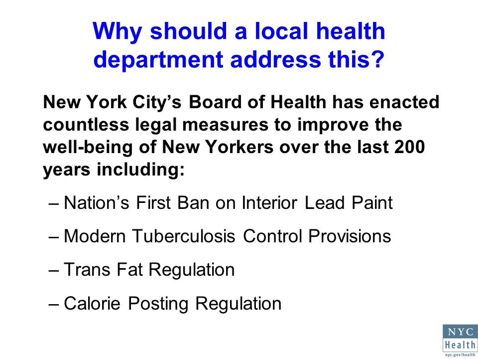 Why should a local health department address this.