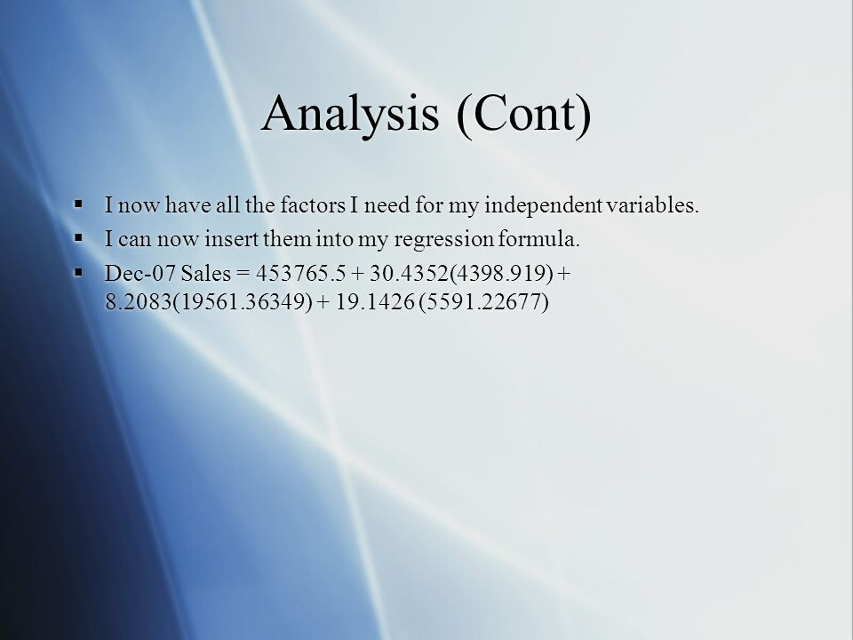 Implementation Now that I have my formula I can insert that information into a DSS.