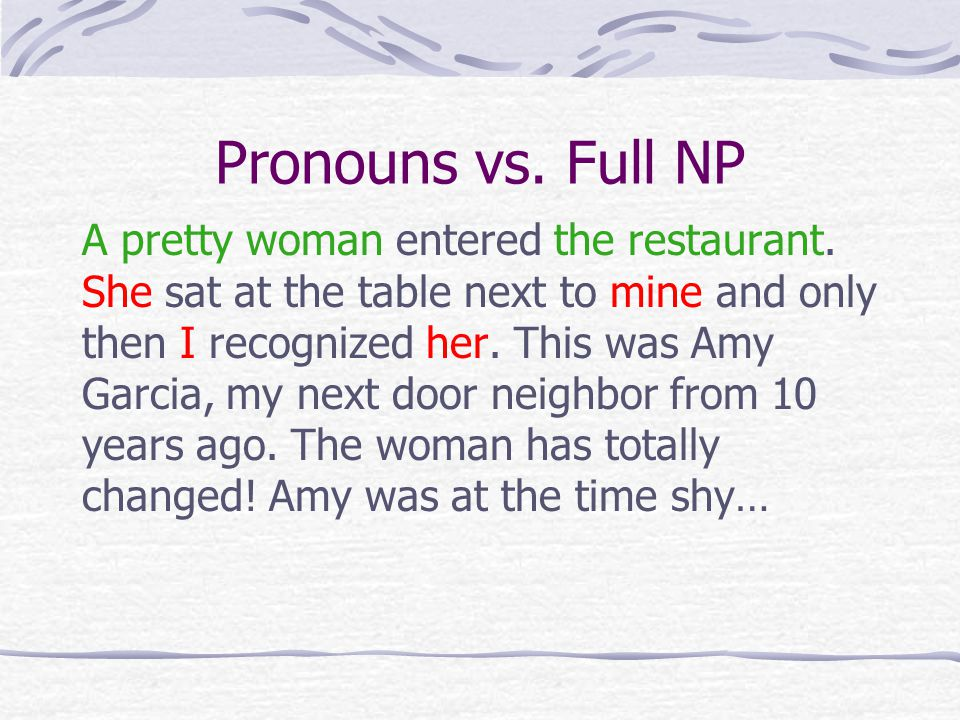 Pronouns vs. Full NP A pretty woman entered the restaurant.