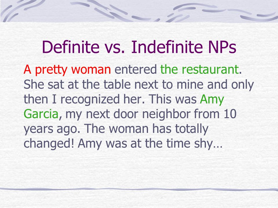 Definite vs. Indefinite NPs A pretty woman entered the restaurant.