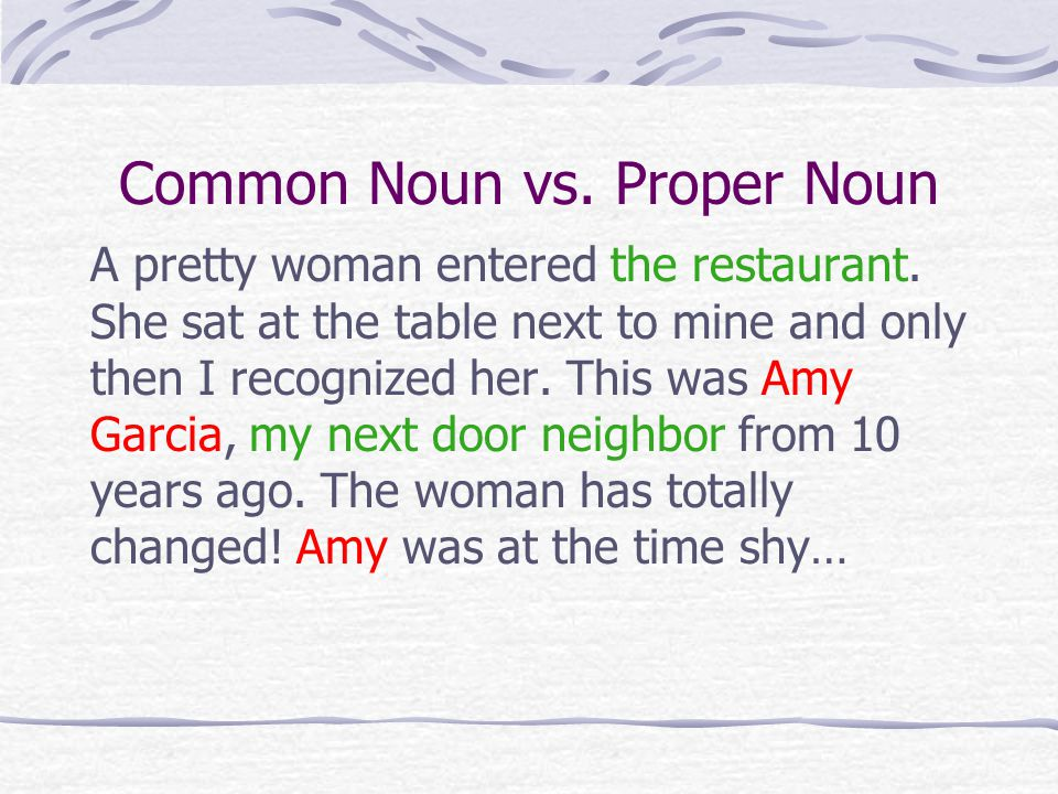 Common Noun vs. Proper Noun A pretty woman entered the restaurant.
