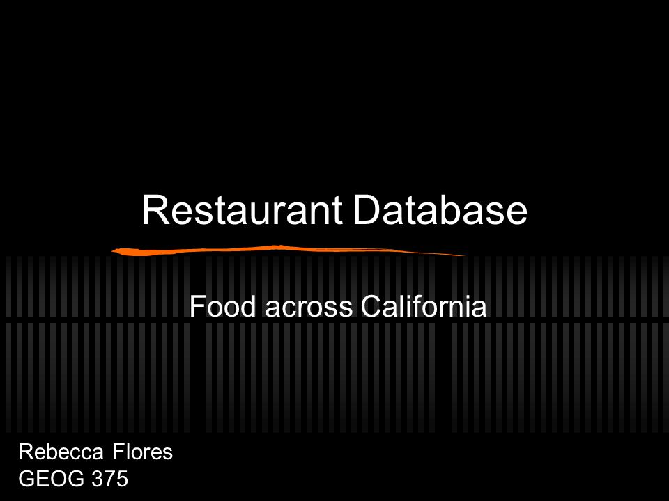 Restaurant Database Food across California Rebecca Flores GEOG 375