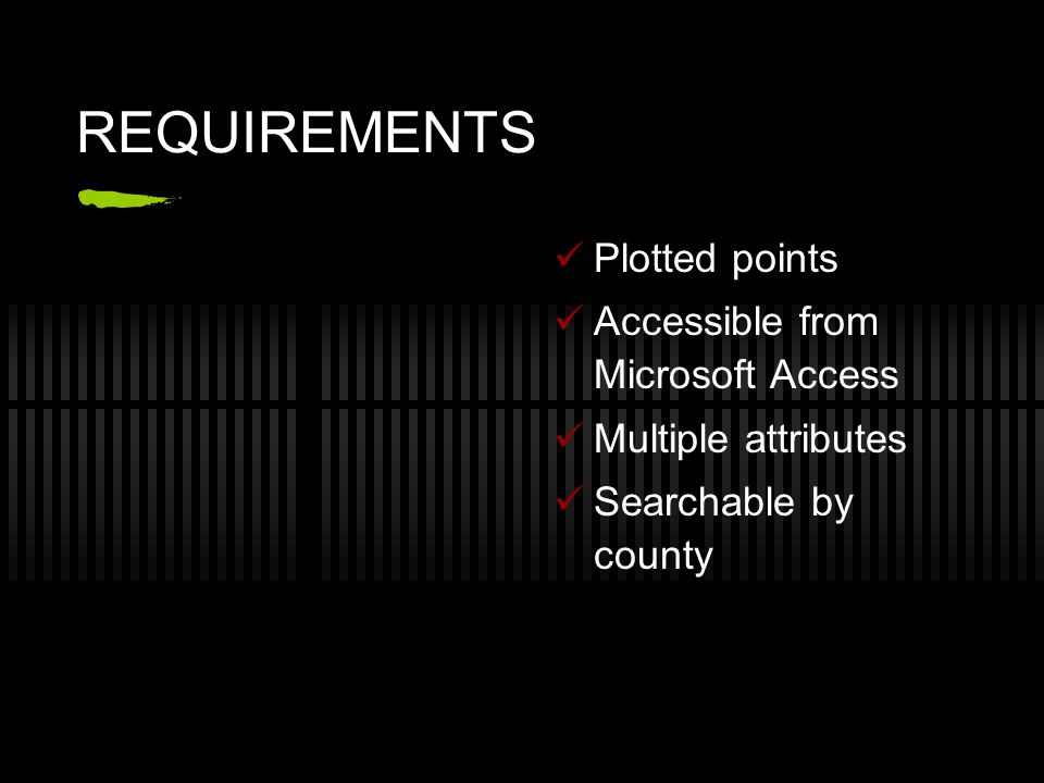REQUIREMENTS Plotted points Accessible from Microsoft Access Multiple attributes Searchable by county