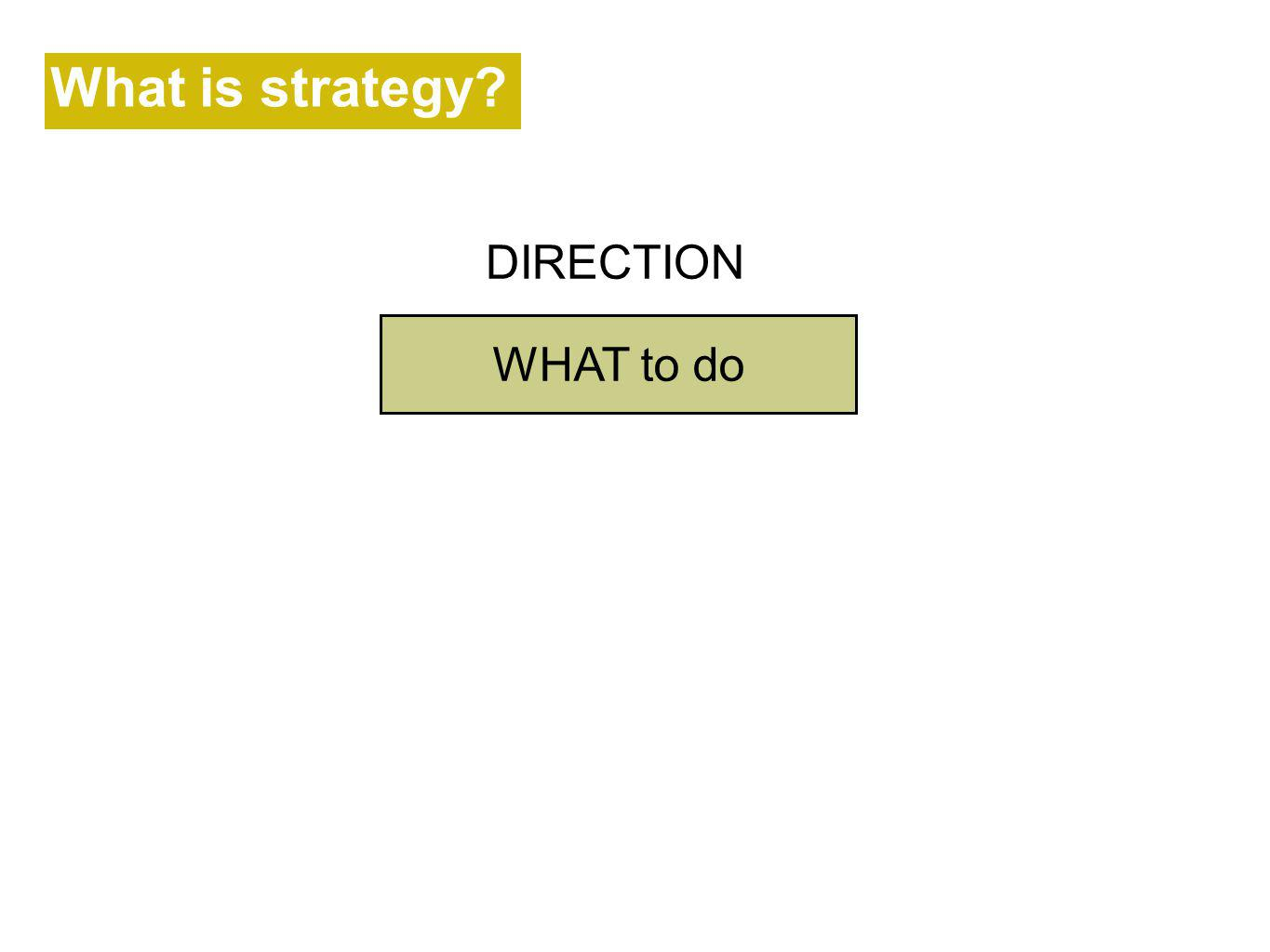 What is strategy? DIRECTION WHAT to do