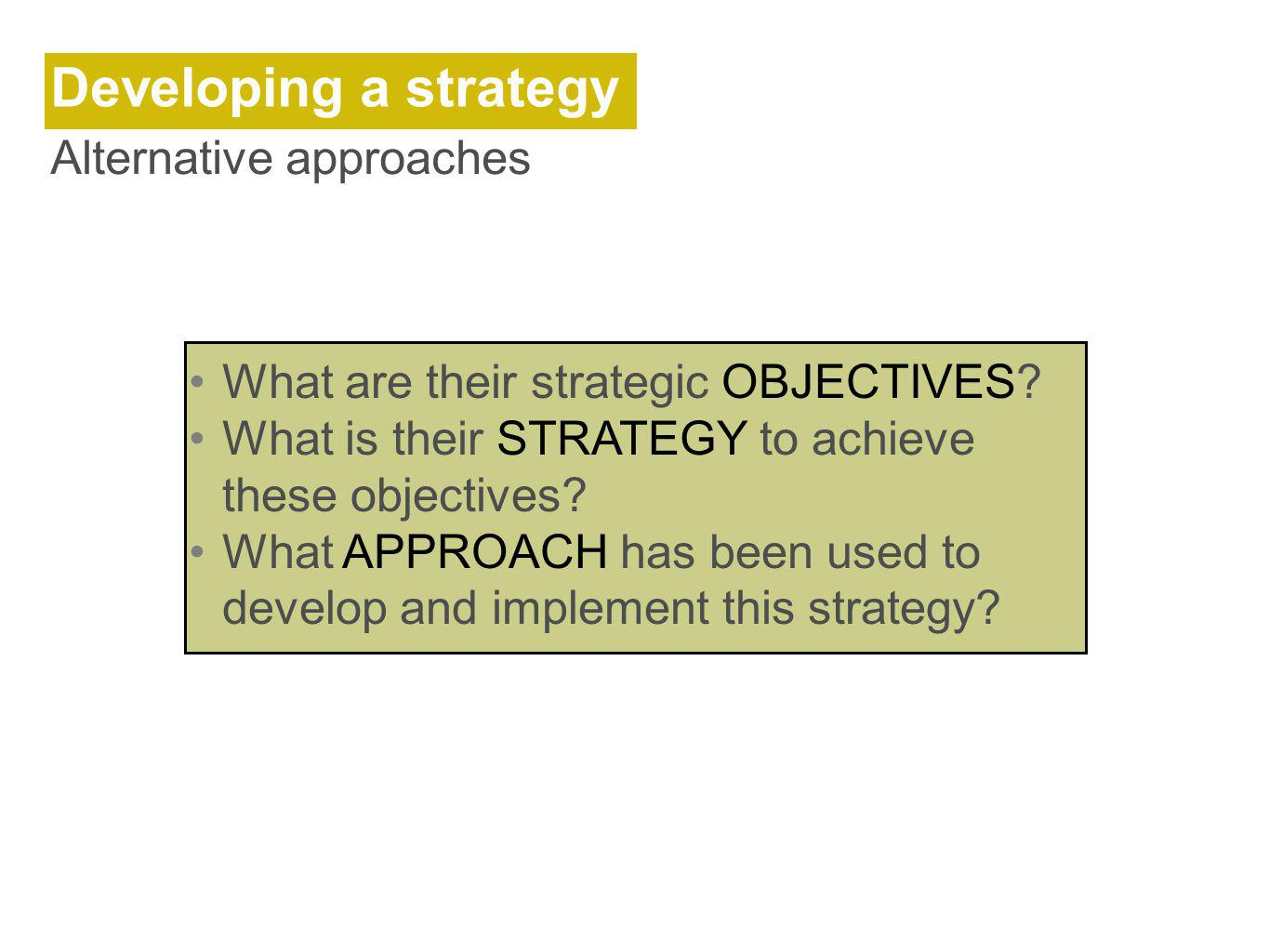 Developing a strategy Alternative approaches What are their strategic OBJECTIVES.