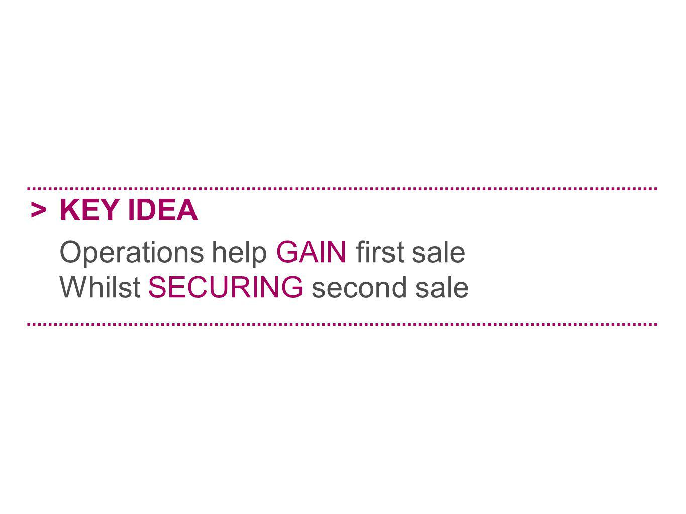 >KEY IDEA Operations help GAIN first sale Whilst SECURING second sale