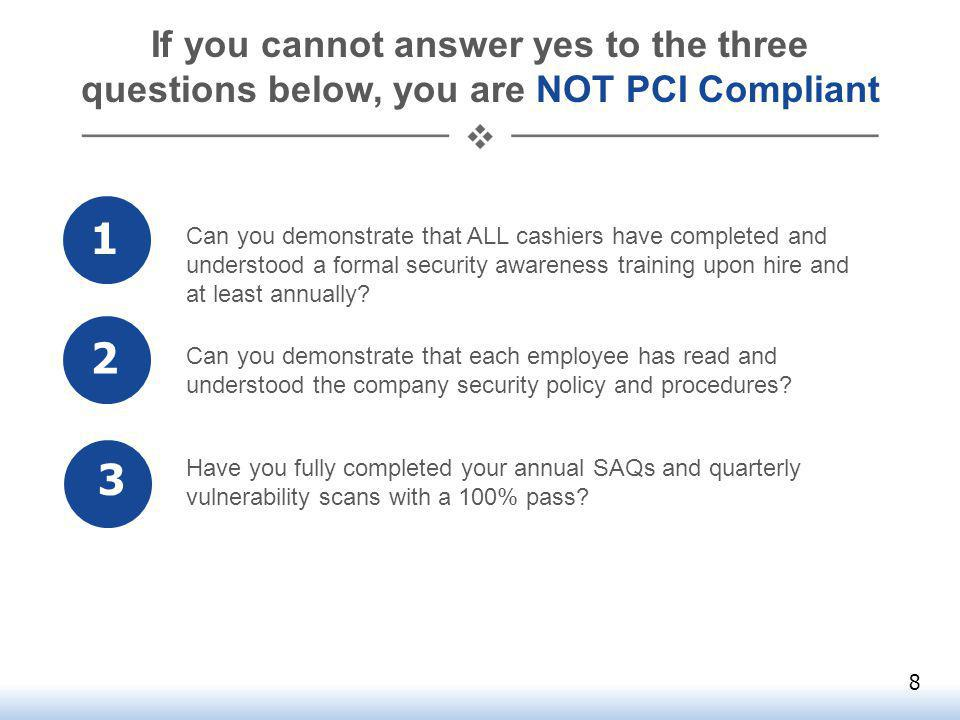 If you cannot answer yes to the three questions below, you are NOT PCI Compliant 1 2 3 Can you demonstrate that ALL cashiers have completed and understood a formal security awareness training upon hire and at least annually.