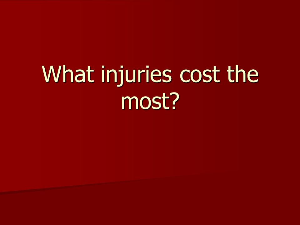 What injuries cost the most