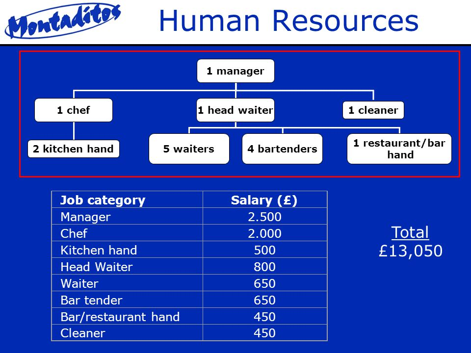 Human Resources 1 manager 1 chef1 head waiter 1 cleaner 2 kitchen hand 5 waiters4 bartenders 1 restaurant/bar hand Job categorySalary (£) Manager2.500 Chef2.000 Kitchen hand500 Head Waiter800 Waiter650 Bar tender650 Bar/restaurant hand450 Cleaner450 Total £13,050